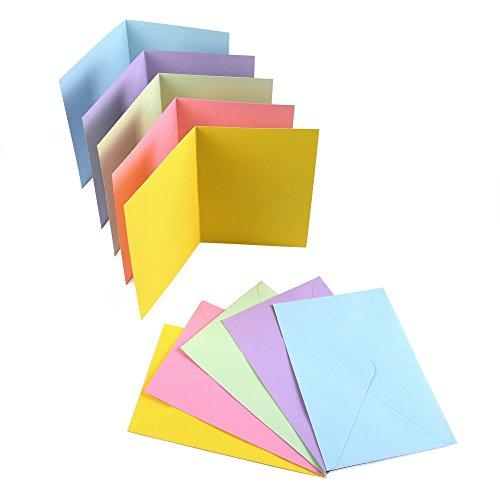 Sparset 50 x Faltkarten DIN B6 blanko farbig gemischt + 50 x Umschläge