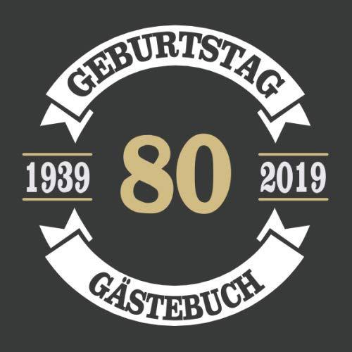80 Geburtstag Gästebuch: Cooles Geschenk zum 80. Geburtstag Geburtstagsparty Gästebuch Eintragen von Wünschen und Sprüchen lustig 120 Seiten / Design: Banner Kreis Vintage Retro Logo
