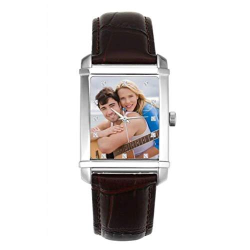 SOUFEEL Personalisierte Armbanduhr mit Foto Gravur für Herren Männer 40 * 33mm Fashion Uhr mit braun Lederarmband Analog Rechteckig Zifferblatt Geburtstag Geschenk für Freund Vater Familie