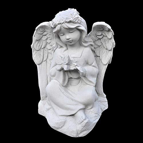 Wilai Massive kleine Steinfigur Engel mit Schmetterling Skulptur Steinguss Gartendeko