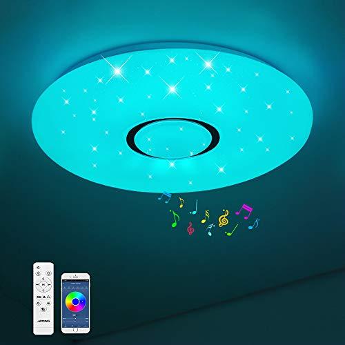 Bluetooth Deckenleuchte JDONG 18W Ø 30CM LED Deckenlampe mit Lautsprecher, Fernbedienung und APP-Steuerung, JDONG RGB Farbwechsel, dimmbar, sternen, IP44 Wasserfest