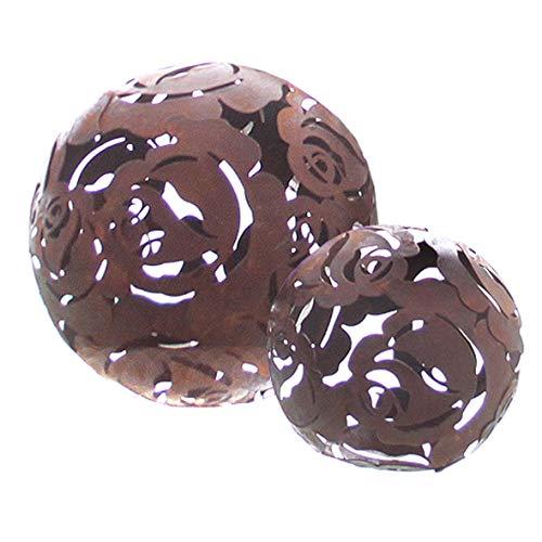 Dio 2er Set Dekokugel Rose Metall mit Naturrost Kugel Ø 10-14 cm Haus Gartendeko