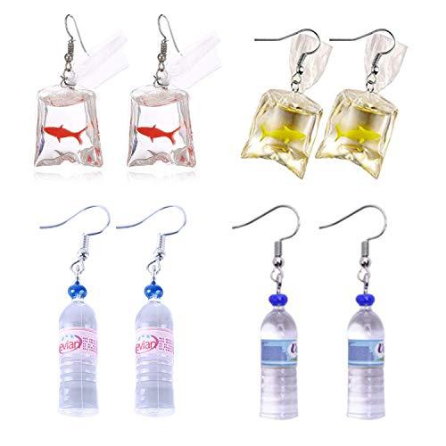 PPX 4 Paare Frauen Böhmischen Wasserflasche Anhänger Ohrringe und Lustiges Design Eines Goldfischs in Einem Wasserbeutel, mit Haken, Tropfen Baumeln Ohrringe Kreative Einzigartige