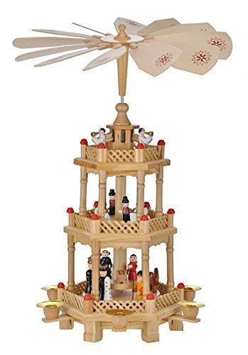Markenlos Weihnachtspyramide 43 cm Holz 3 Ebenen 6 Kerzen Holzpyramide Weihnachten Krippe