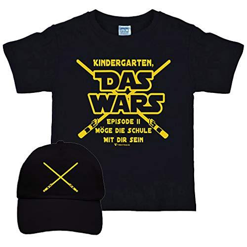 Kinder T-Shirt Schulanfang Das Wars mit Basecap schwarz Geschenkidee Schuleinführung (122/128)