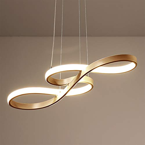LED Pendelleuchte Esstisch Hängelampe Dimmbar Deckenlampe Modern Deckenleuchte Höhenverstellbar Hängeleuchte Pendellampe Esszimmer Gold Kronleuchter mit den Fernbedienung für Schlafzimmerleuchte