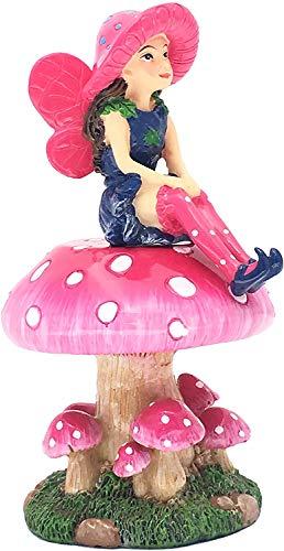 GlitZGlam Mimi die Miniaturfee mit abnehmbarem Feenständer in Pilzform für Ihren Feengarten/Miniaturgarten