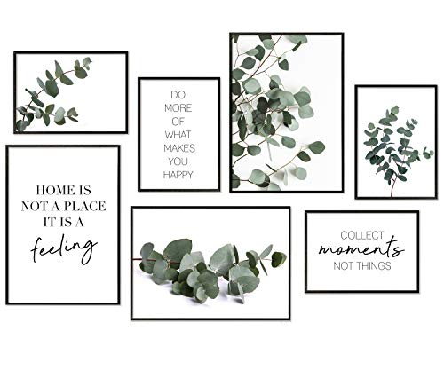 Hyggelig Home Premium Poster Set - 7 passende Bilder im stilvollen Set als Wohnzimmer Deko - Collage Wand Bild Schlafzimmer - 3 x DIN A3 + 4 x DIN A4 - Set Eukalyptus ohne Rahmen