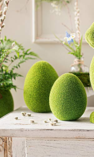Dekoleidenschaft 2 Terracotta-Eier Moos, grün, 16 + 20 cm hoch, Osterdeko, Ostereier-Set