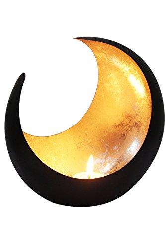 MAADES Windlicht Laterne orientalisch Moon Groß 20cm Gold   Orientalische Vintage Teelichthalter Schwarz von außen und Goldfarben innen   Marokkanische Windlichter aus Metall als Dekoration