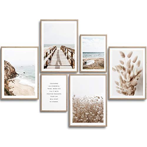 MONOKO® Wohnzimmer Poster Set - Premium Bilder Set für Schlafzimmer - Stilvolle Wandbilder - 6er Set ohne Rahmen (Set Beige, Pampasgras, Meer, 4X A4 | 2X A5)