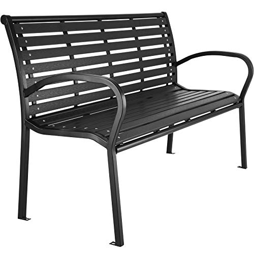 TecTake 403213 Premium Gartenbank, 3-Sitzer, Hips Sitzbank, widerstandsfähig, bis 200 kg belastbar, 126 x 62 x 81,5 cm, schwarz