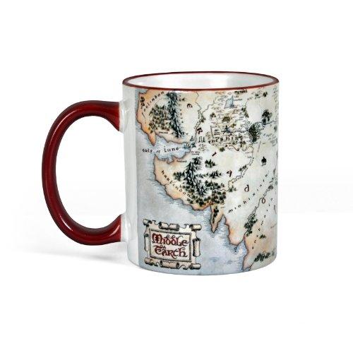 Elbenwald Mittelerde Tasse aus Herr der Ringe und Hobbit Film mit Landkarte Keramik 300ml?