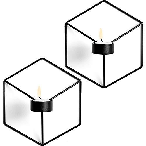 MingBin Wandkerzenhalter Wandleuchter Kerzenständer Kerzenhalter 2er Set,Schmiedeeiserne Wanddekoration, Stereometrischer Kerzenleuchter, Beleuchtung Dekoration für Wohnzimmer/Esszimmer/Bar(Schwarz)