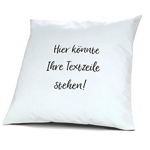 printplanet® - Kissen mit eigenem Text Bedrucken - 100% Baumwoll Kopfkissen selbst gestalten mit Namen oder Wunschtext - Kissenbezug inkl. Füllung