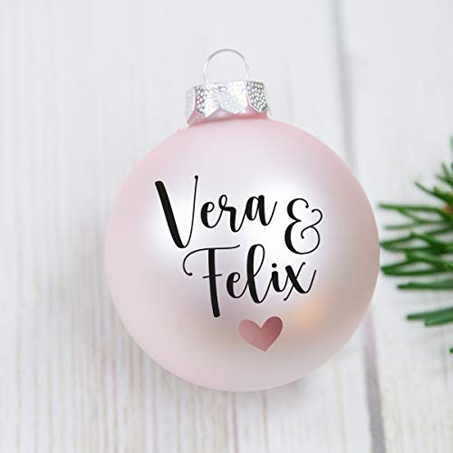 Personalisierte Weihnachtskugel aus Glas mit zwei Namen und Symbol, ca 6cm Durchmesser, Geschenk für Freunde, Familie, Christbaumkugeln aus Glas, personalisierte Deko Weihnachtsbaum,
