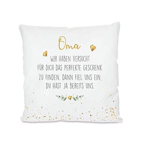 """Manufaktur Liebevoll I Kissen """"Oma, wir haben versucht I Geschenk für die Großmutter, Omi I Besondere Geschenkidee als Dankeschön, zum Geburtstag und zu Weihnachten I 40x40 cm"""
