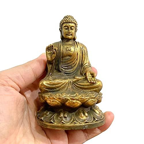 HaiFiy Nostalgie Kupfer Amitabha Buddha Abbildung Home Dekorationen Messing Skulpturen Vintage Wohnzimmer Schreibtisch Dekor Miniatur Figur Überraschungsgeschenk (Color : Buddha Ornament)