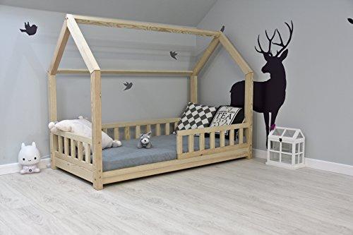 Best For Kids Kinderbett Kinderhaus mit Rausfallschutz Jugendbett Natur Haus Holz Bett mit oder ohne 10 cm Matratze in 8 Größen (90x200 cm mit Matratze)