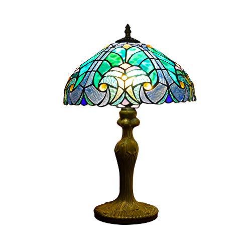 Hobaca 12 Zoll Ozeanlicht Tiffany Tischlampe Handgemacht Glasmalerei Türkische Lampe Nachttischlampe Klassisch Schreibtischlampe Kunst dekorativ zum Schlafzimmer Wohnzimmer Bar Kaffee Tabelle