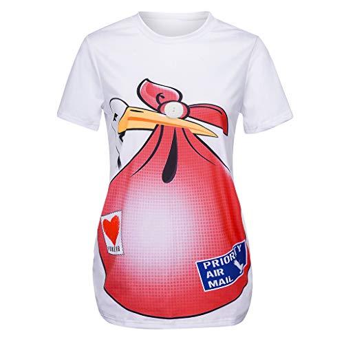SUCES Umstandsmode Bluse süße Lustige Witzige Drucken Mutterschaft Oberteile Kurzarm Schwangerschaftsshirt Umstandsshirt mit Rundhals Sommer Nursing Umstandstop Schwangere Tops