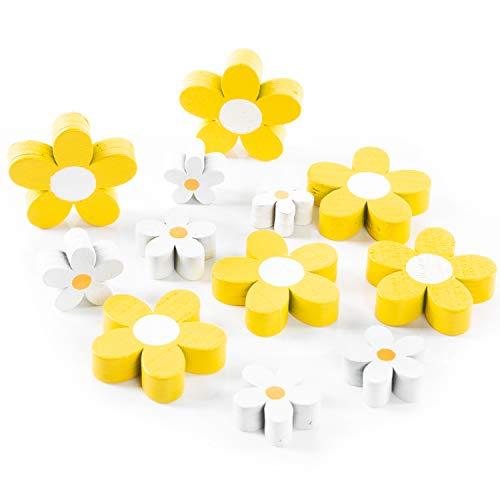 Logbuch-Verlag 12 kleine Blumen zum Streuen & Basteln aus Holz gelb weiß - Osterdeko Tischdeko Bastelzubehör Ostern Frühling