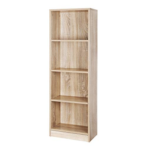 VASAGLE Bücherregal mit 4 Fächern, verstellbare Einlegeböden, Aktenregal für Wohnzimmer, Kinderzimmer und Heimbüro, Farbton Eiche, 40 x 121,5 x 24 cm (B x H x T), LBC104H