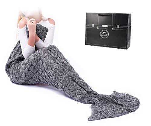 VHOME Meerjungfrau Decke Geschenke Beste Freundin - Handgemacht Gestrickt Warmes Wohnzimmer Sofa Decke Damen Mädchen Für Weihnachts Geburtstagsgeschenk (Erwachsene 180x90CM, S-Grau)