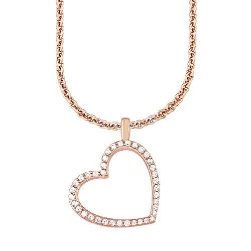 s.Oliver Damen-Kette 45 cm mit Anhänger Herz 925 Sterling Silber rosévergoldet Zirkonia weiß