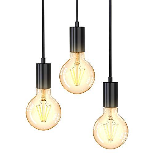 B.K.Licht I Vintage Hängelampe I 3-flammige Deckenlampe I E27 I Matt-Schwarz I Retro Pendellampe I verschiedene Höhen I Ø210x1200mm