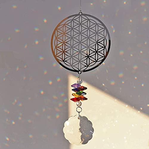 H&D Kronleuchter Hänge Kristall Sonnenfänger Metall Anhänger (Blume des Lebens)