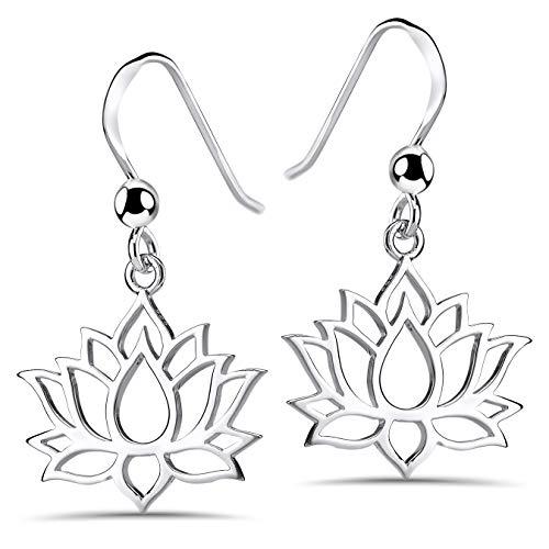MATERIA Lotusblume Ohrringe Silber 925 hängend - Lotusblüte Ohrhänger Lotus Schmuck für Damen Teenager SO-73-Silber
