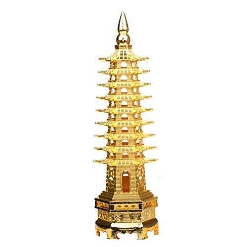 LJXLXY Feng Shui Dekoration Legierung Feng Shui Bildung Turm Feng Shui neun Ebenen Wen Chang Pagode Statue Tisch/Schreibtisch Dekor und Geschenkartikel-goldene Farben Home Tisch Büro Feng Shui
