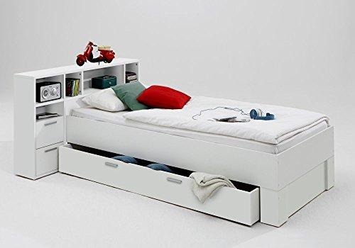 trend-moebel Bett 90x200 INCL. SCHUBKASTEN Regal KINDERZIMMER JUGENDZIMMER Weiss NEU