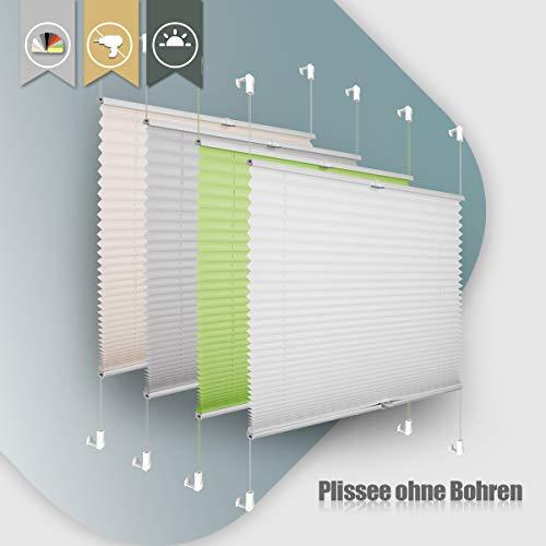 Plissee ohne Bohren klemmfix Jalousie Sonnenschutz Easyfix Faltrollo Crushed Optik Lichtdurchlässig Rollo für Fenster Tür Weiß 60x100cm(BXH)