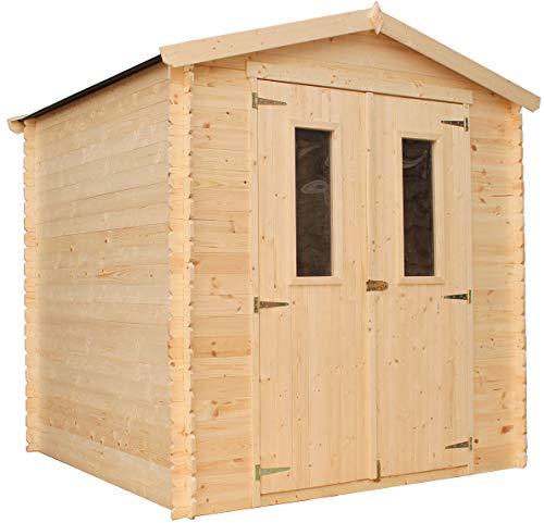 TIMBELA Holzhaus Gartenhaus M343C+M343G - Gartenschuppen Holz mit Boden Imprägnierte B216xL206xH218 cm/ 3.53 m2 Lagerschuppen für Garten - Fahrrad Schuppen - Wasserfestes Dach