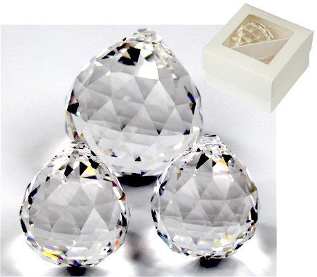 Rieser® premium-kristall Kugel Set 2x 30mm + 1x 40mm in Geschenkbox - Kristall Glas klar 30%PbO - Feng Shui - Regenbogenkristall - Sonnenkristall