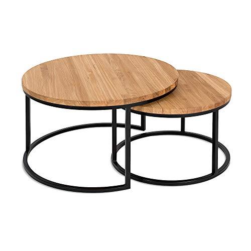 Hochwertiger Couchtisch aus Eiche & Metall - Satztisch aus Massiv Holz im 2er Set | Wohnzimmertisch aus Echtholz - Rund & Modern | Couch Beistelltisch - 50 cm hoch | Wohnzimmer Tisch in Natur braun