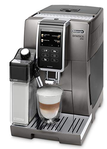 De'Longhi Dinamica Plus ECAM 370.95.T Kaffeevollautomat mit LatteCrema Milchsystem, Cappuccino & Espresso, 3,5 Zoll TFT Touchscreen Farbdisplay und App-Steuerung, Kaffeekannen-Funktion, titan