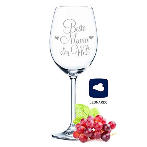 Leonardo Weinglas mit Gravur - Beste Mama der Welt - Geschenk für Mama ideal als Muttertagsgeschenk - Weißweinglas Rotweinglas als Geburtstagsgeschenk für Mama