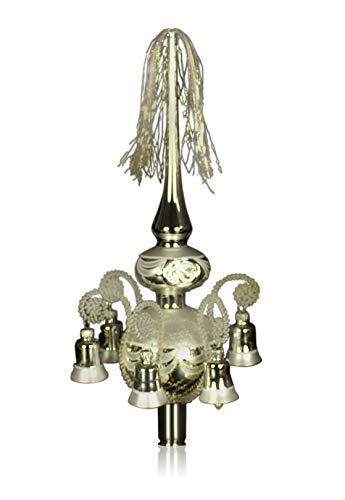 Doppelspitze mit Glöckchen silber, umsponnen L ca. 33cm d(Kugeln) 6/8cm Christbaumschmuck Weihnachtsbaumschmuck mundgeblasen,handdekoriert,Leonischer Draht Lauschaer Glas das Original