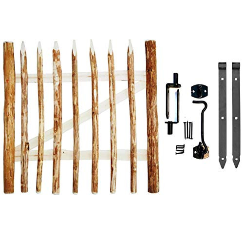 BOGATECO Zauntor Haselnuss | Breite: 100cm | Höhe 90 cm | Abstand zwischen den Zaunlatten 6-7cm | Gartentor aus Holz für Staketenzaun | mit Scharniere inkl. Zubehör | Türöffnung nach Links