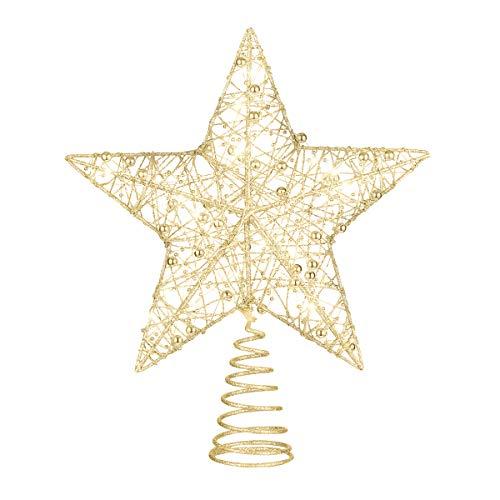 STOBOK Weihnachtsbaum Stern Topper Lichter,25cm Weihnachtsbaumspitze glitzernder baumkronen Lampe Ornament Party Dekoration,Gold (Gold(1))