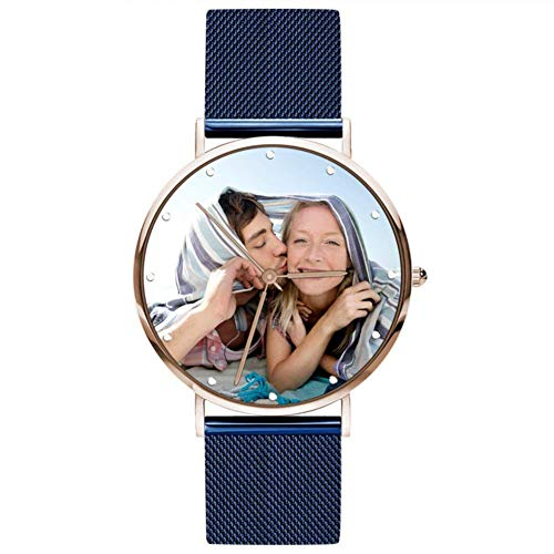 SOUFEEL Personalisiert Foto Armbanduhr für Damen mit Ihr Wunschgravur Fashion Uhr Analog Metallarmband Silber Rosegold Klassisch Zifferblatt Geburtstagsgeschenk für Mutter Freundin Familie