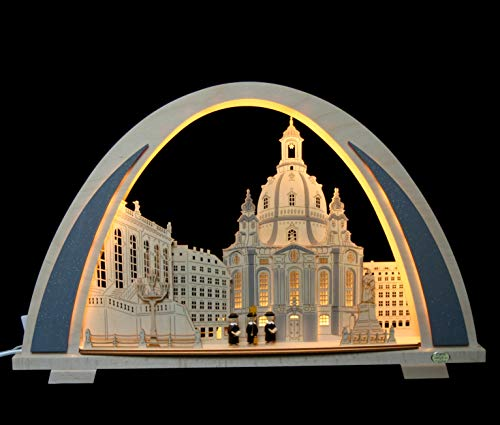 LED 3D Schwibbogen Frauenkirche Dresden mit Kurrende modern - Handarbeit aus dem Erzgebirge