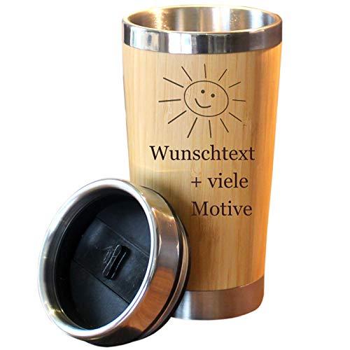 Kaffeebecher mit Namen + Motiv Gravur in Holz Optik, Isolierbecher groß 0,4 L für Coffee to go, Kaffee Edelstahlbecher mit Deckel zum Mitnehmen, personalisiertes Geschenk