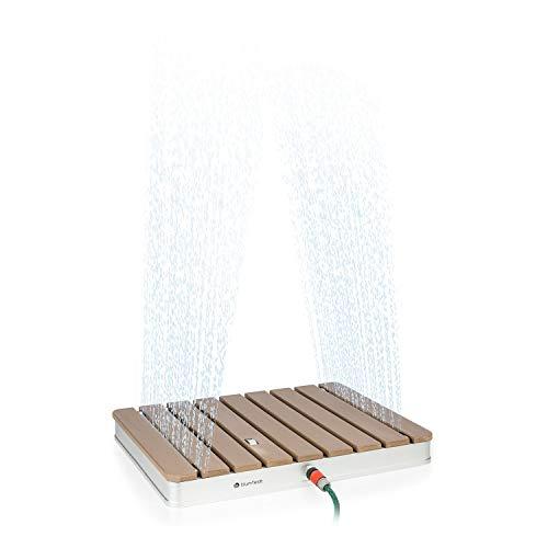 blumfeldt Sumatra Breeze SQ Gartendusche Außendusche Bodendusche Saunadusche,70 x 55 cm,Fontänenhöhe bis 4 m einstellbar,Material: Aluminium/WPC,rutschfeste Standfläche,Holzoptik