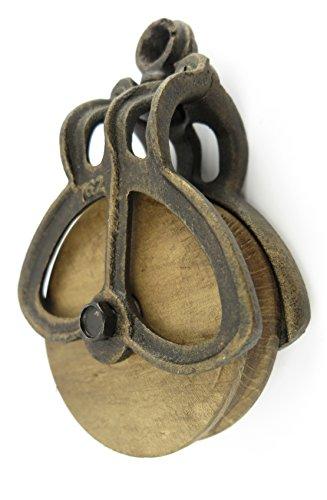 Ausgefallener Flaschenzug im Antik-Stil mit Holzrolle aus Gusseisen Umlenkrolle Jugendstil Gründerzeit Gartendeko für Innnen und Aussen