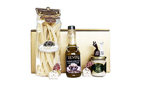 Goldenes Trüffel Geschenkset TARTUFO DIVINO (Trüffelpasta, Trüffelöl, Tartufi dolci, Trüffelsoße) mit italienischer Trüffel Feinkost