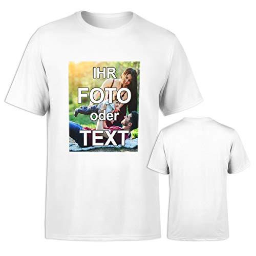 T-Shirt vollfarbig EINSEITIG Bedruckt mit eigenem Foto Text Logo Name selbst gestalten * ringgesponnene Baumwolle * digitaler Direktdruck, Farbe:Weiß, Größe:XL